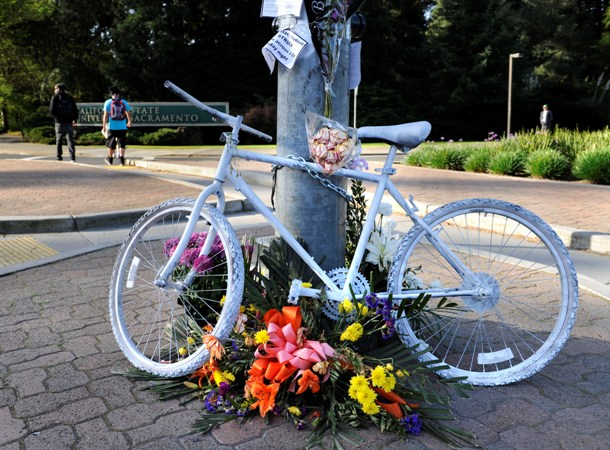 Memorial to Arlene Sasse at Carlson Drive & J St.