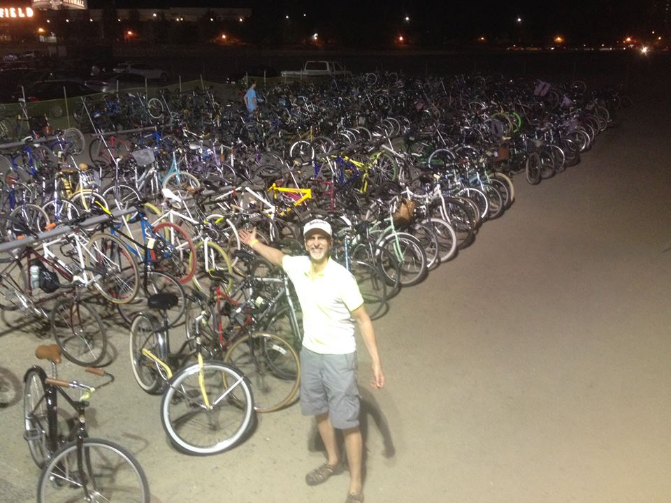 Chuck helped park 1,100 bikes at the 2015 TBD Fest