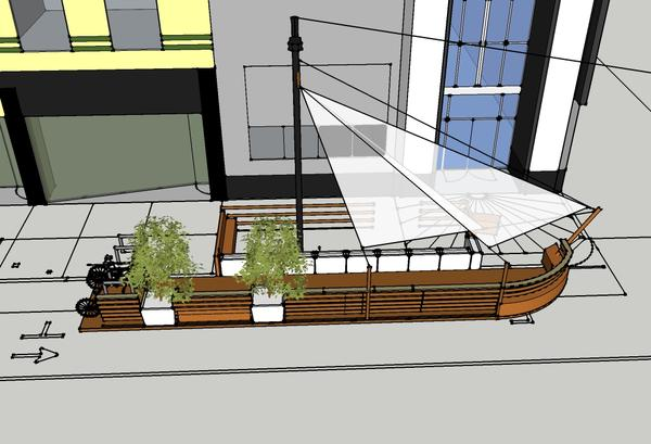 Pirate ship-themed parklet planned for Blackbird Kitchen & Beer Gallery in downtown Sacramento.