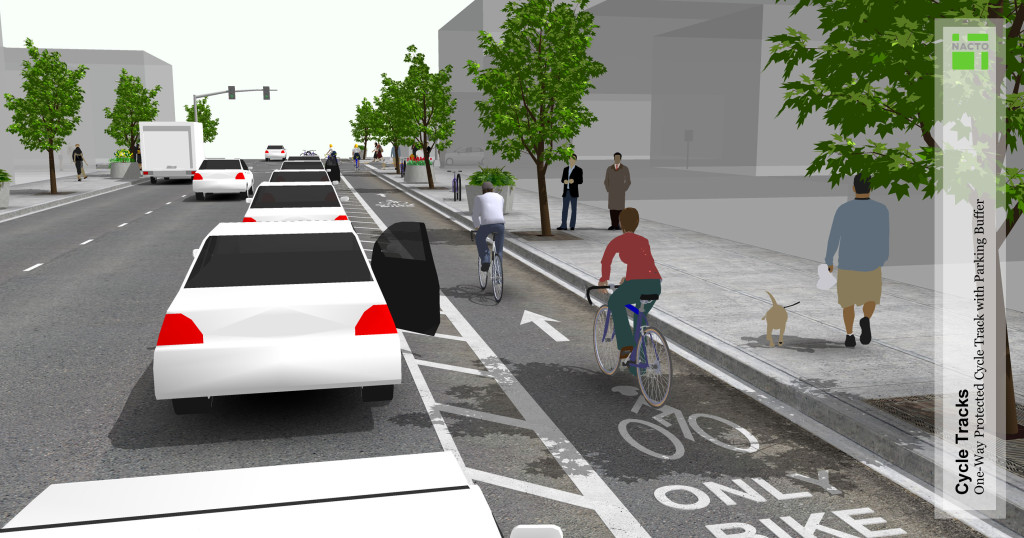 Example of a protected bike lane