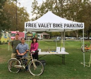 Bike Valet at Food Truck Mania in Tahoe Park. We're parking City Councilmember Eric Guerra's bike!