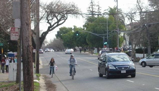 Northbound bike traffic just north of C.K. McClatchy High School