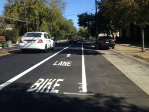 A road diet and new bike lanes on Freeport Blvd. in Land Park were installed as part of a City of Sacramento repaving project.
